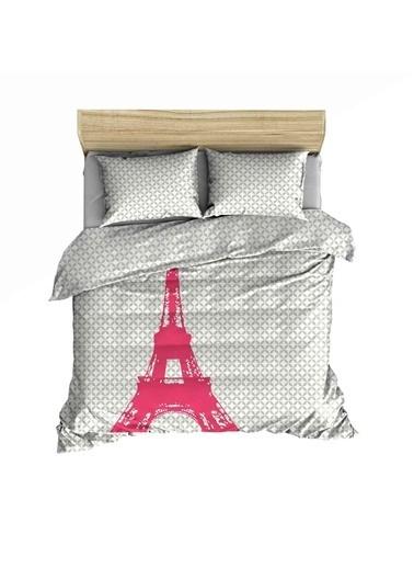 Maki   Paris Eyfel Çift Kişilik Nevresim Ve Yastık Kılıfı Seti Renkli